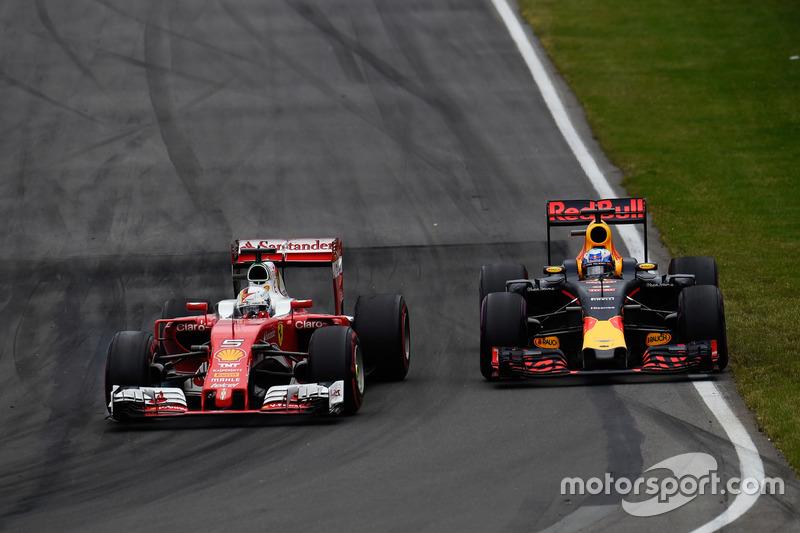 (Зліва направо): Себастьян Феттель, Ferrari SF16-H та Даніель Ріккардо, Red Bull Racing RB12, боротьба за позицію