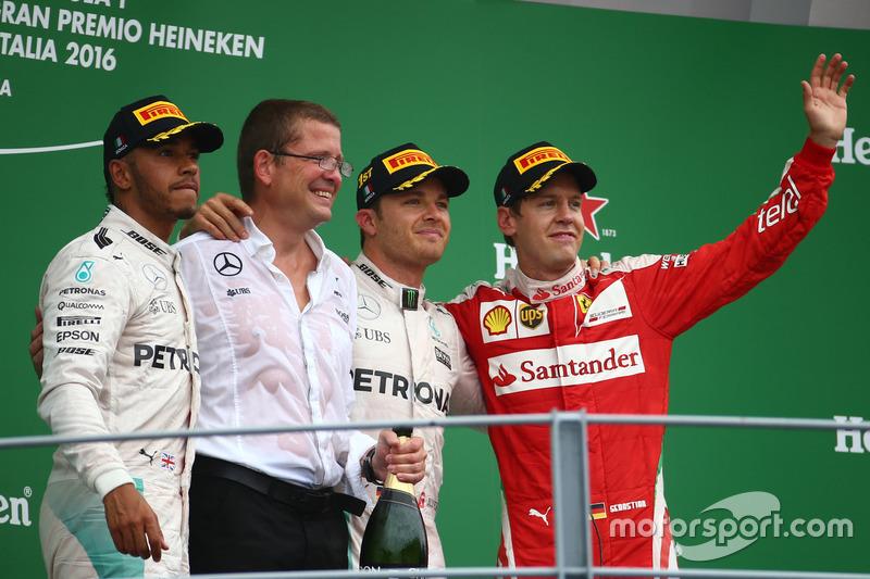 Podium: Race winner Nico Rosberg, Mercedes AMG Petronas F1 W07, second place Lewis Hamilton, Mercedes AMG F1 W07  and third place Sebastian Vettel, Scuderia Ferrari SF16-H
