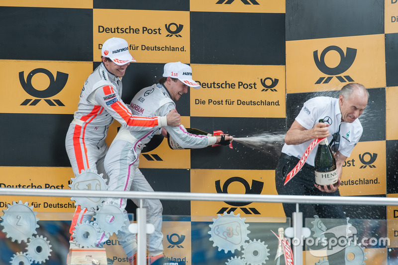 Podium, champagne shower, Robert Wickens Mercedes-AMG Team HWA, Mercedes-AMG C63 DTM, Lucas Auer, Mercedes-AMG Team Mücke, Mercedes-AMG C63 DTM, teamboss Peter Mücke
