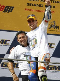 Podium: winner Alvaro Bautista, Aspar Team Aprilia with Jorge Martinez