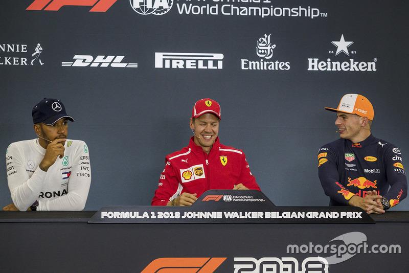 Sebastian Vettel, Ferrari, Lewis Hamilton, Mercedes AMG F1, y Max Verstappen, Red Bull Racing