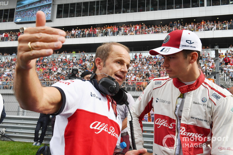 Josef Leberer, Sauber Trainer and Charles Leclerc, Sauber on the grid
