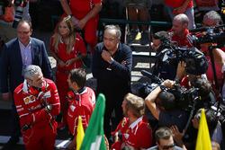 Maurizio Arrivabene, Team Principal, Ferrari, Sergio Marchionne, Chief Executive Officer, Fiat Chrysler and Chairman, Ferrari, are filmed after victory by Sebastian Vettel, Ferrari
