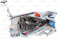 Williams FW36 steering wheel (butterfly design) using older PCU6D display screen (arrowed)