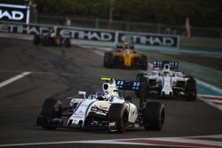 Valtteri Bottas, Williams FW38, leads Felipe Massa, Williams FW38