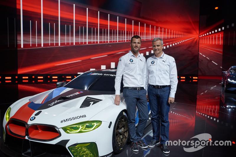 Martin Tomczyk and Jens Marquardt, BMW Motorsport Director with BMW M8 GTE