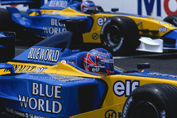 Jenson Button,  Renault R202 with team mate Jarno Trulli