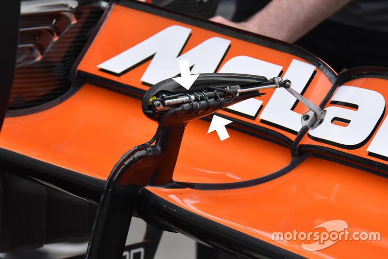 Capteur sur l'aileron arrière de la McLaren MCL32