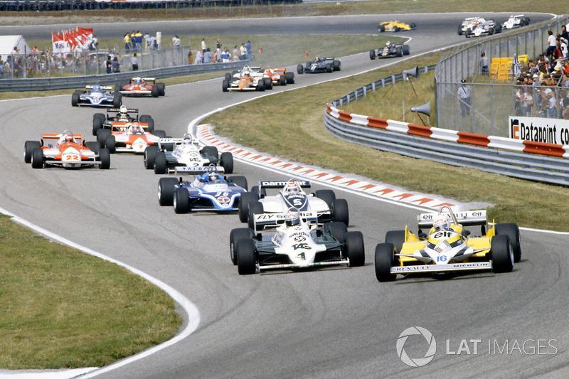 René Arnoux, Renault RE30, Alan Jones, Williams FW07C-Ford Cosworth, Nelson Piquet Brabham, BT49C-Ford Cosworth, Jacques Laffite, Ligier JS17-Matra