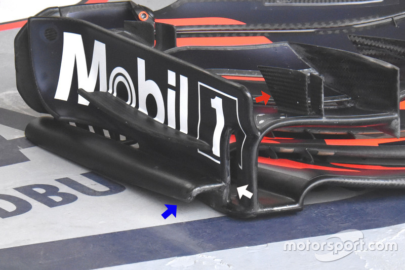 Red Bull Racing RB13, detail van de voorvleugel