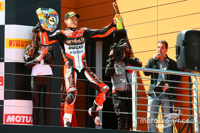 Podium: race winner Chaz Davies, Ducati Team