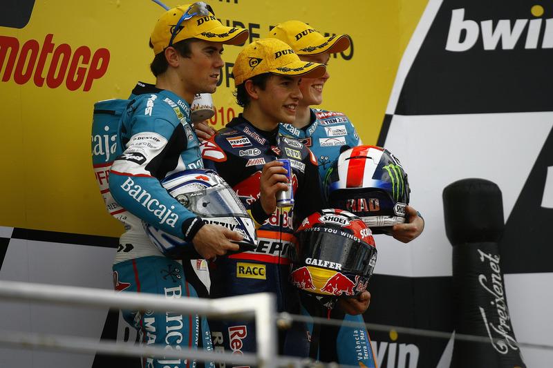 Podium : 1er Marc Márquez, 2e Nico Terol, 3e Bradley Smith