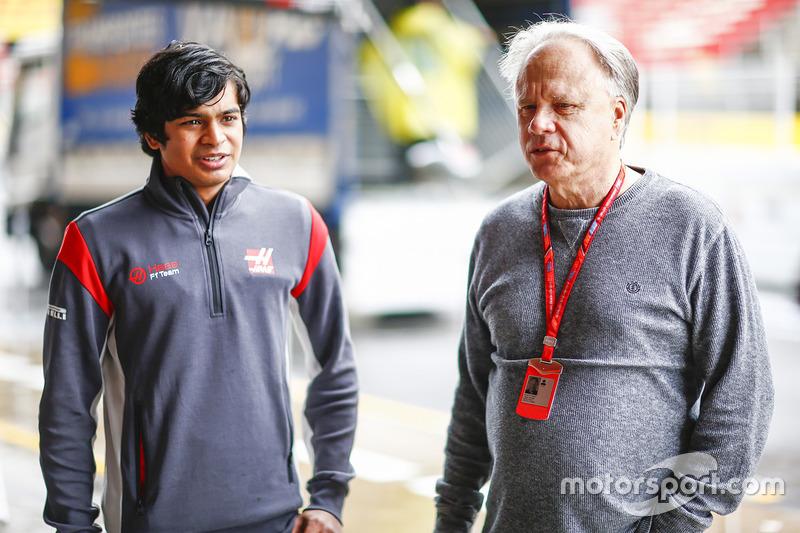 Arjun Maini, Development Driver, Haas F1 Team F1 Team, with Gene Haas F1 Team, Owner and Founder, Haas F1 Team F1