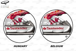Ferrari SF70H: Frontflügel, GP Belgien, Vergleich