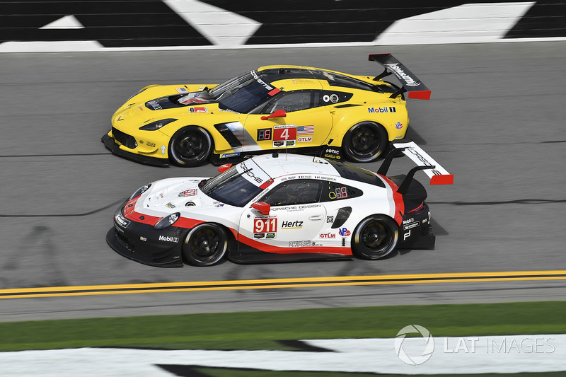 #911 Porsche Team North America Porsche 911 RSR, GTLM, #4 Corvette Racing Chevrolet Corvette C7.R, GTLM