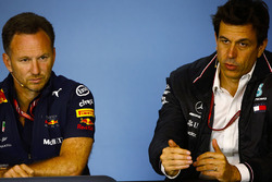 Christian Horner, Team Principal, Red Bull Racing, and Toto Wolff, Executive Director (Business), Mercedes AMG, in a Press Conference