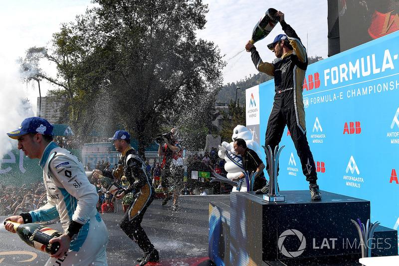 Sébastien Buemi, Renault e.Dams, Andre Lotterer, Techeetah, Jean-Eric Vergne, Techeetah, sprays the champagne on the podium