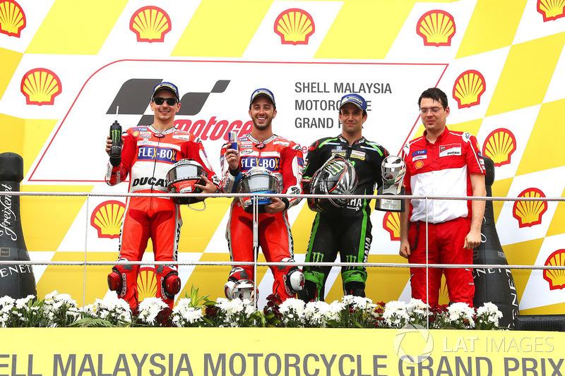 Podio, ganador Dovizioso con Lorenzo segundo y Zarco tercero
