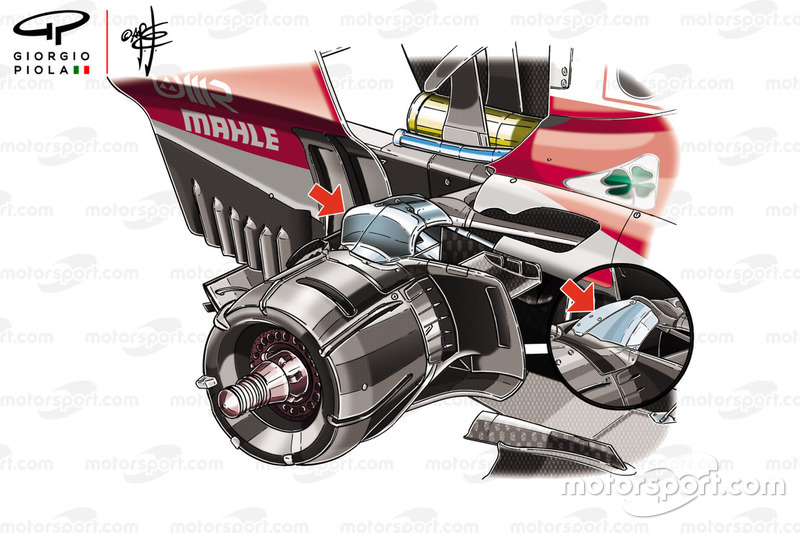 Comparación de la suspensión trasera del Ferrari SF71H