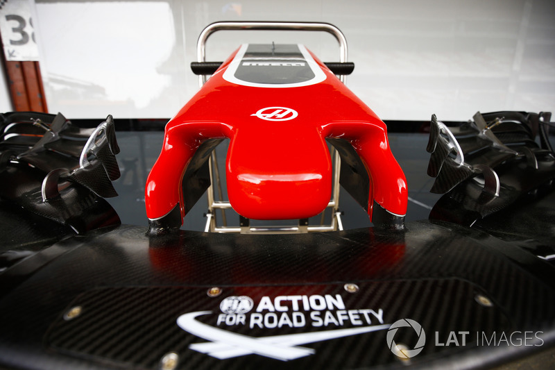 The logo for the FIA's Action For Road Safety is displayed on the nose of a Haas F1 Team VF-18