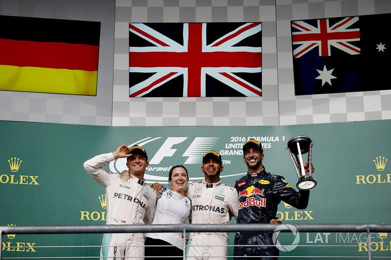 2016: 1. Lewis Hamilton, 2. Nico Rosberg, 3. Daniel Ricciardo