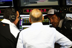 Eric Boullier, McLaren Racing Director, Ron Dennis, McLaren Executive Chairman and Fernando Alonso, McLaren