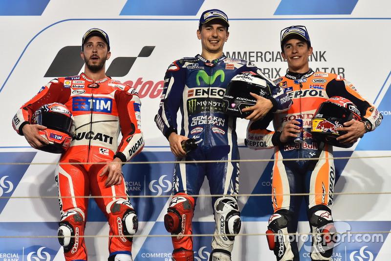 2016: 1. Jorge Lorenzo, 2. Andrea Dovizioso, 3. Marc Marquez