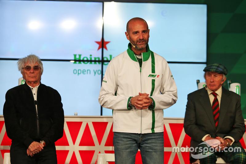 (L to R): Bernie Ecclestone, Heineken Global Head of Brand; and Jackie Stewart, at a Heineken sponsorship announcement