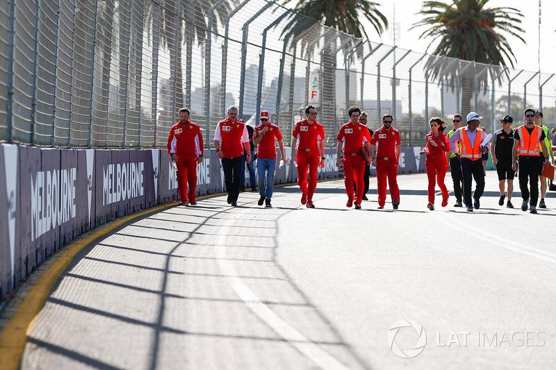 Track walk with Sebastian Vettel, Ferrari