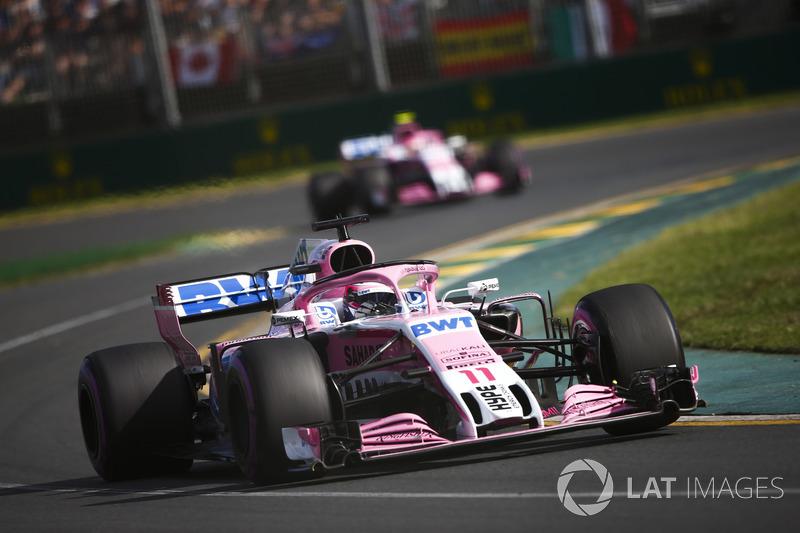 Sergio Perez, Force India VJM11 Mercedes, Esteban Ocon, Force India VJM11 Mercedes