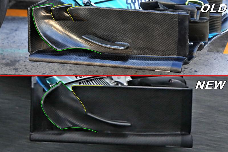 Détails de la dérive de l'aileron avant de la Mercedes F1 W09
