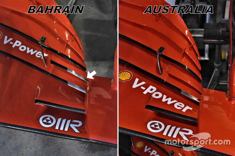 Ferrari SF71H front wing comparison