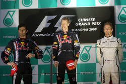 Mark Webber, Red Bull Racing, Sebastian Vettel, Red Bull Racing and Jenson Button, Brawn Grand Prix on the podium