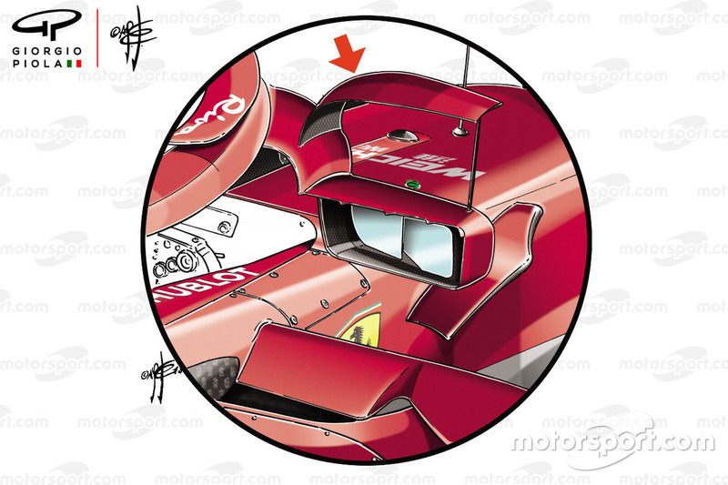 Ferrari SF71H mirror detail, Spanish GP