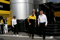 Jerome Stoll, Director of Renault Sport F1, Alain Prost, Renault Sport F1 Team Special Advisor, Cyril Abiteboul, Renault Sport F1 Managing Director and Ross Brawn, Formula One Managing Director of Motorsports at the McLaren motorhome