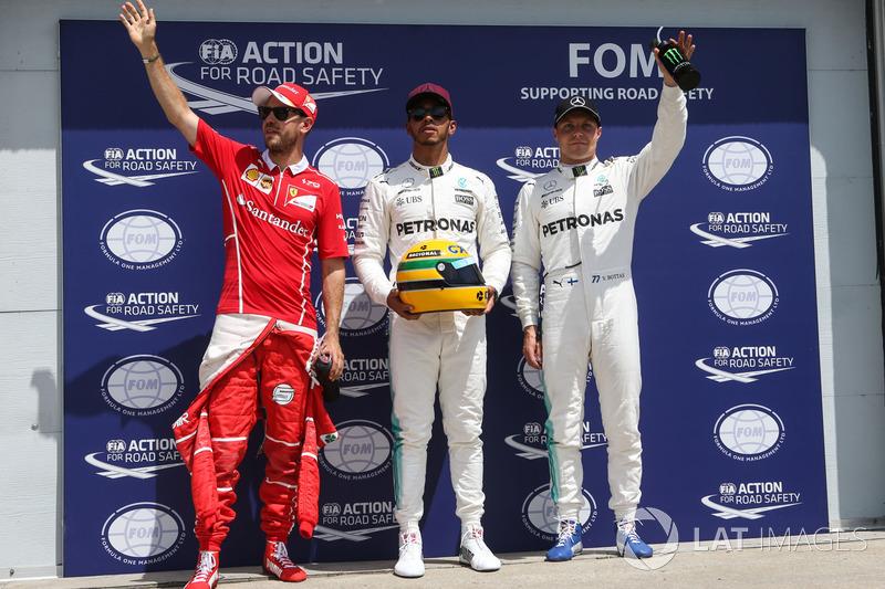 Top 3 im Qualifying: 1. Lewis Hamilton, Mercedes AMG F1, 2. Sebastian Vettel, Ferrari, 3. Valtteri B