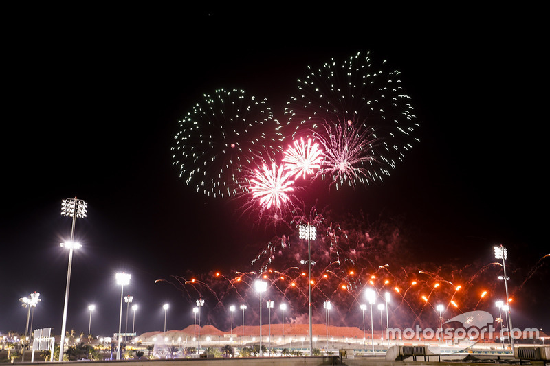 Fireworks light up the night at the end of the race