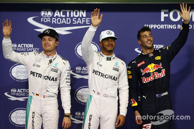 Top 3 im Qualifying: 1. Lewis Hamilton, Mercedes AMG F1; 2. Nico Rosberg, Mercedes AMG F1; 3. Daniel Ricciardo, Red Bull Racing