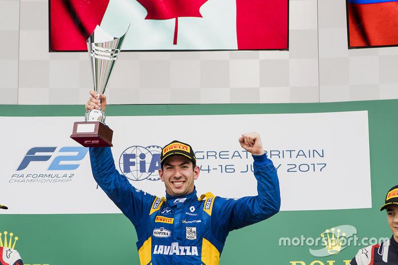Podio: ganador de la carrera Nicholas Latifi, DAMS, segundo lugar Luca Ghiotto, RUSSIAN TIME, tercer