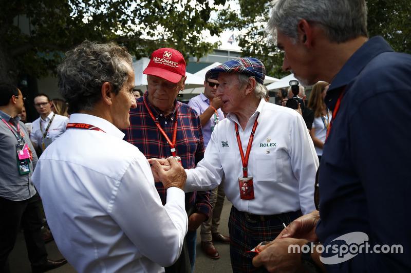 Alain Prost, Niki Lauda, Jackie Stewart und Damon Hill