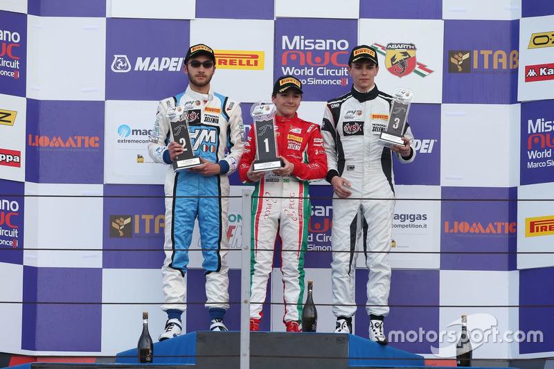 Podio Rookie Gara 3: il secondo classificato Andrea Dell'Accio, Henry Morrogh Racing D.S., il vincitore Enzo Fittipaldi, Prema Power Team, il terzo classificato Davide Venditti, Diegi Motorsport