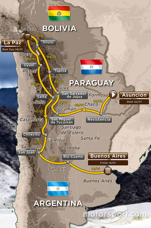 The 2017 Dakar route