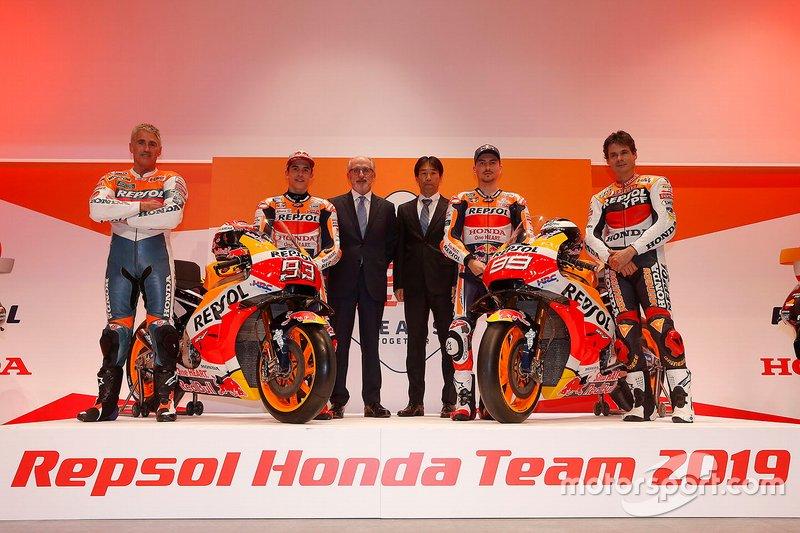 Мік Дуен, Марк Маркес, Repsol Honda Team, Тецухіро Кувата, директор HRC, Хорхе Лоренсо, Алекс Крівілль, Repsol Honda Team