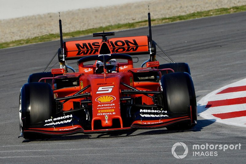 Sebastian Vettel, Ferrari SF90 with aero sensors on rear wing