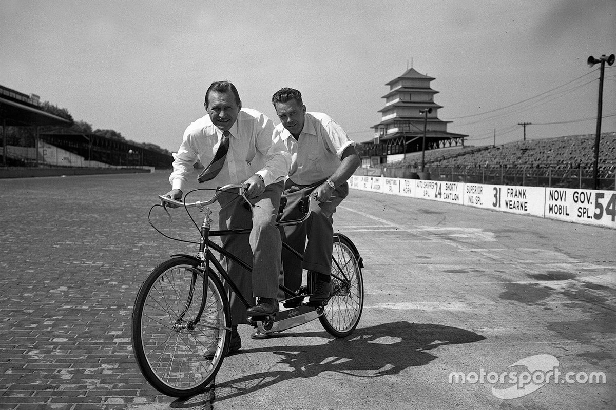 Poor Ted is apparently destined to finish behind someone yet again… Here he shares a tandem with the great Wilbur Shaw, three-time Indy 500 winner and the man who helped revive the Speedway after WWII.
