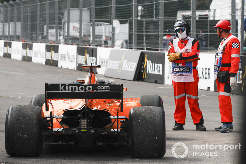 Alonso was unlucky to collect debris from Ocon's car