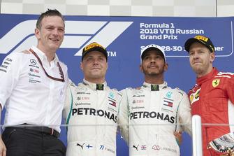 James Allison, Mercedes AMG F1 Technical Director, Valtteri Bottas, Mercedes AMG F1, Lewis Hamilton, Mercedes AMG F1 and Sebastian Vettel, Ferrari celebrate on the podium