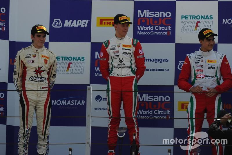 Podium: Mick Schumacher, Prema Powerteam; Raul Guzman Marchina, DR Formula; Juan Manuel Correa, Prem