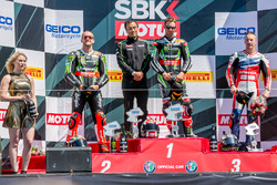Saturday race podium: 1st place Jonathan Rea, Kawasaki Racing Team, 2nd place Tom Sykes, Kawasaki Racing Team, 3rd place Nicky Hayden, Honda World Superbike Team
