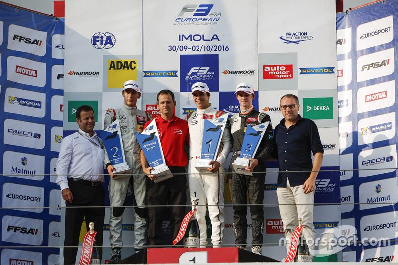 Podium: Race winner Lance Stroll, Prema Powerteam Dallara F312 – Mercedes-Benz, second place George Russell, HitechGP Dallara F312 – Mercedes-Benz, third place Callum Ilott, Van Amersfoort Racing Dallara F312 – Mercedes-Benz